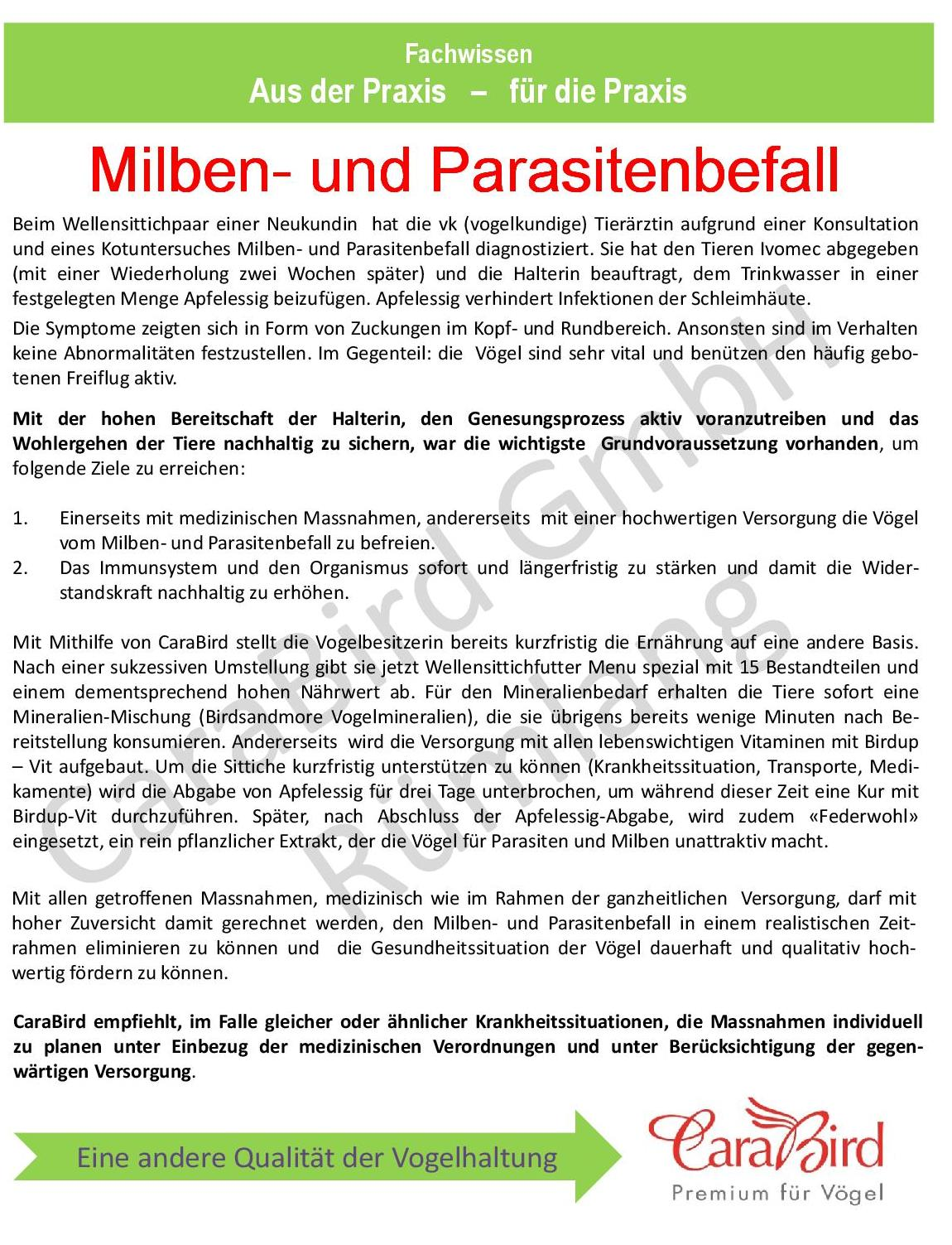 Milben- und Parasitenbefall
